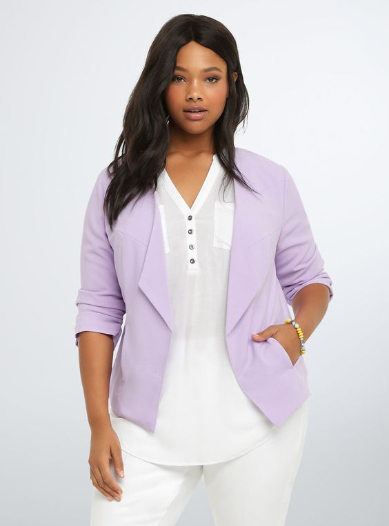 """<p>Textured lilac material lends a springy pop of color to this working-girl blazer. A flattering drape front paired with cut away seams does wonders for your figure, while ruched sleeves play up your proportions. Real pockets.</p>  <p></p>  <p><b>Model is 5'11"""", size 1</b></p>  <ul> <li>Size 1 measures 29"""" from shoulder</li> <li>Polyester/spandex</li> <li>Wash cold, line dry</li> <li>Imported plus size blazer</li> </ul>"""