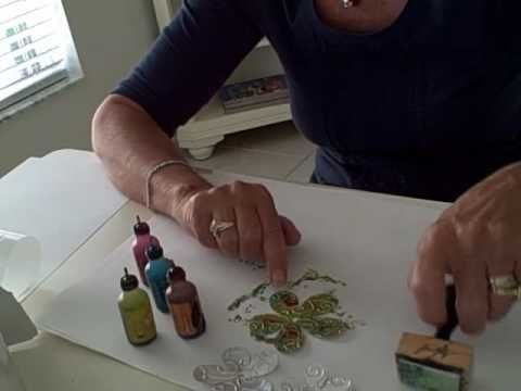 Alcohol Ink and Plumbers tape, texture through  Cuttlebug...many possibilities here! Great video how-to.