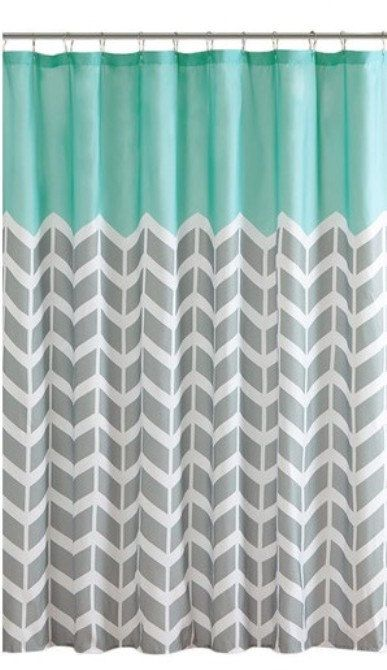 Two Tone Printed Shower Curtain Teal Plus Grey And White Chevron Polyester 7