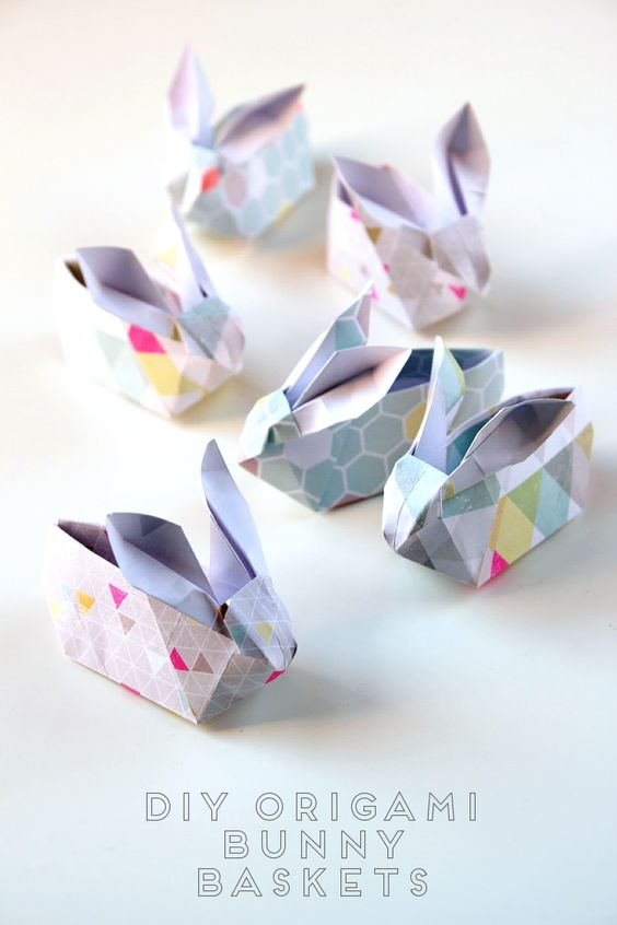 Diy Origami Easter Bunny Baskets: