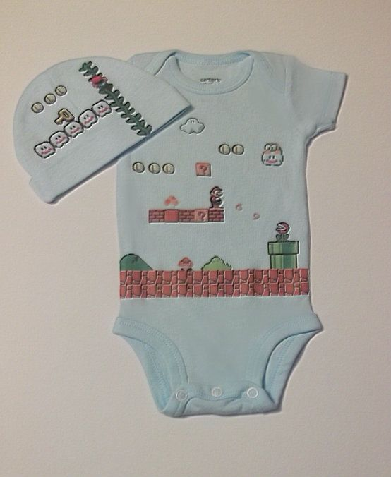Auntie Emiddy will be getting baby Maivo this!    Super Mario Brothers Onesie Set