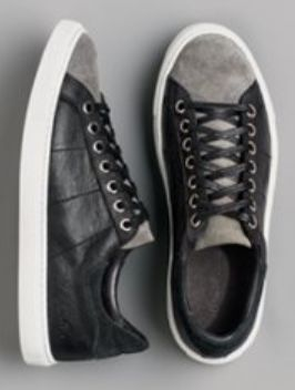 two tone suede and leather street chic sneakers