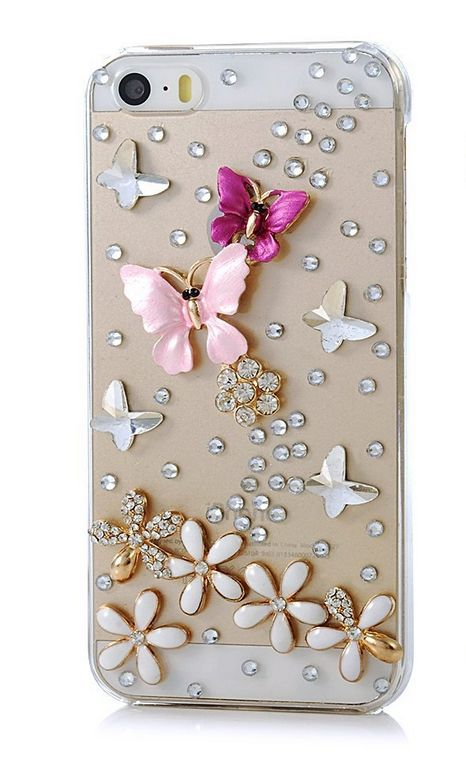 iPhone 5/5S, iPod Touch 5 - Exquisite 3D Crystal Butterfly And Flower Rhinestone Bling Clear Hard Case