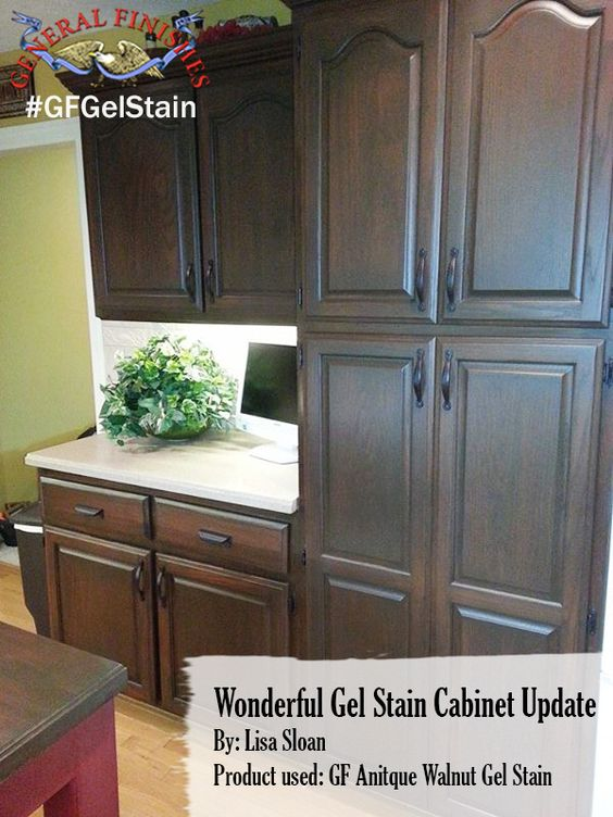 General finishes antique walnut gel stain was the color of for Where can i find kitchen cabinets
