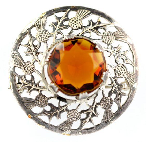 Vintage Scottish Thistle Amber Rhinestone Kilt by Yourgreatfinds