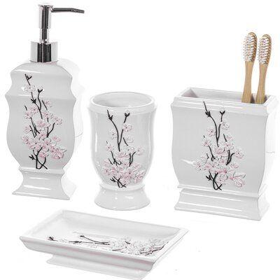 World Menagerie Vanda 4 Piece Bathroom Accessory Set In 2020 Bathroom Accessories Sets Bathroom Accessories Bathroom Decor Sets
