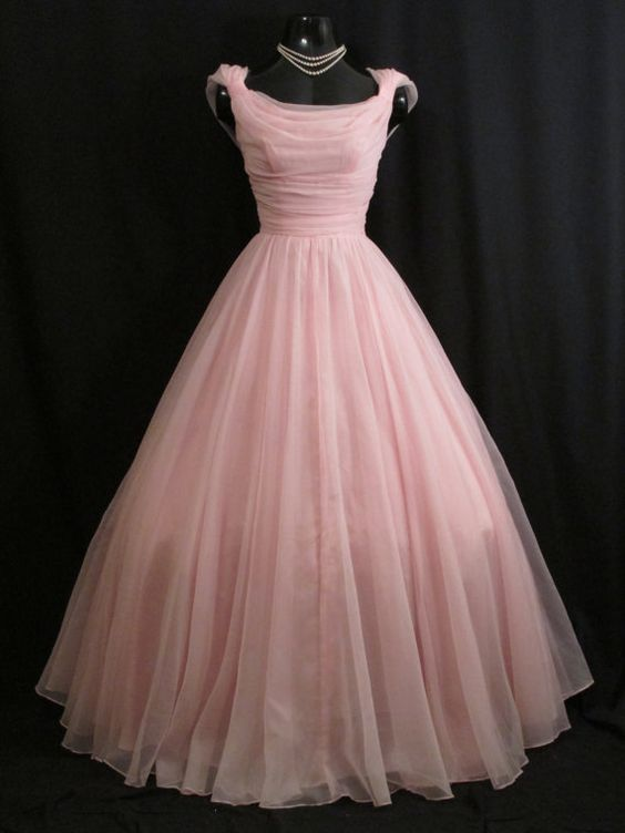 Vintage 1950&39s 50s Baby PINK Emma Domb CHIFFON Organza Party Prom ...