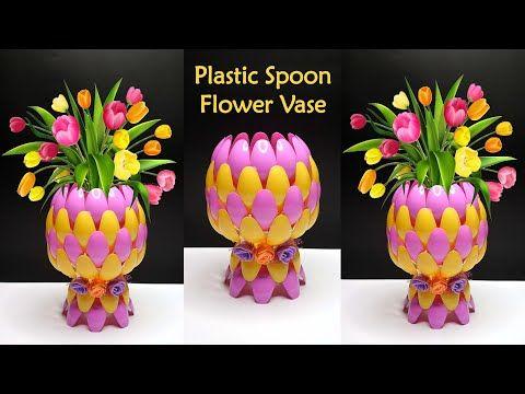 Ide Kreatif Vas Bunga Dari Sendok Plastik Youtube Em 2020 Com