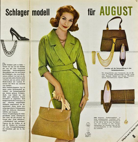 "1960s Fashion. ""Burda Moden"" 08.1960"