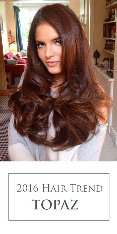 Look at this gem! Topaz is a rich, multidimensional brown hair color idea with glints of subtle copper highlights married throughout the mids and ends.