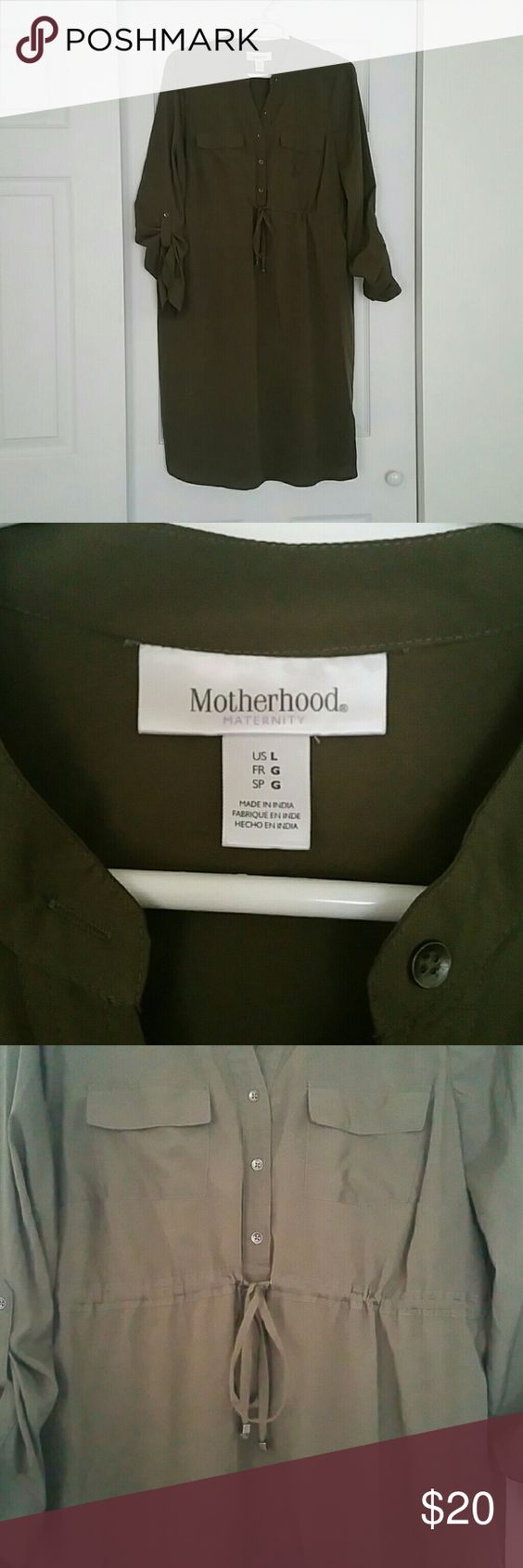 Olive Maternity Dress Olive Motherhood Maternity dress. Hits a little above the knee. Has 3/4 sleeves with button detail. This dress has a tie waist with bead detail on ties. Very comfortable for work or play. Motherhood Maternity Dresses Mini