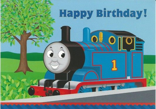 Thomas At The Station Birthday Card Happy Birthday Greeting Card Birthday Cards For Friends Happy Birthday Cards
