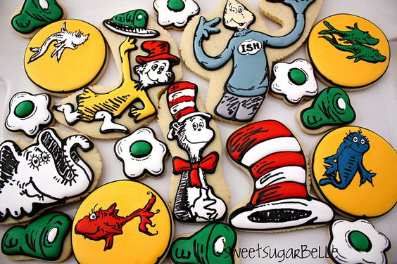 This is real cookie artistry!!  The Cat in the Hat cookies, Green Eggs & Ham, Red Fish Blue Fish Dr Seuss biscuits are amazing.