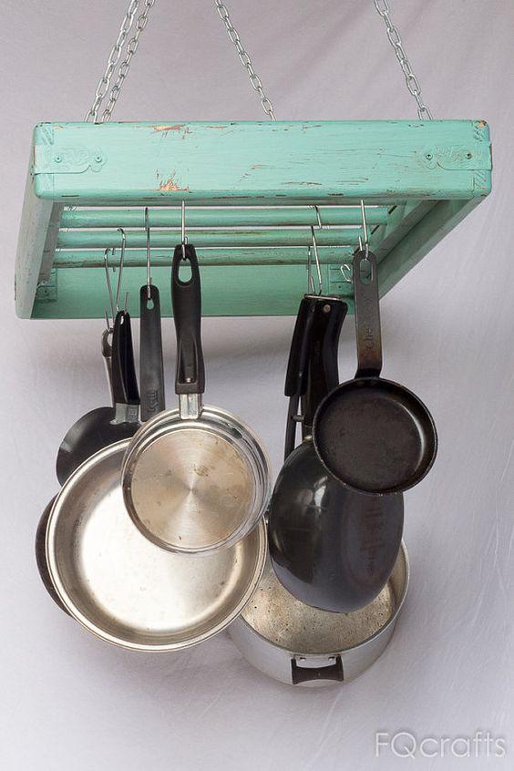Wooden Pot Rack Ceiling Mounted Rectangular Large 5 Rungs Hang Kitchen Pots And Pans