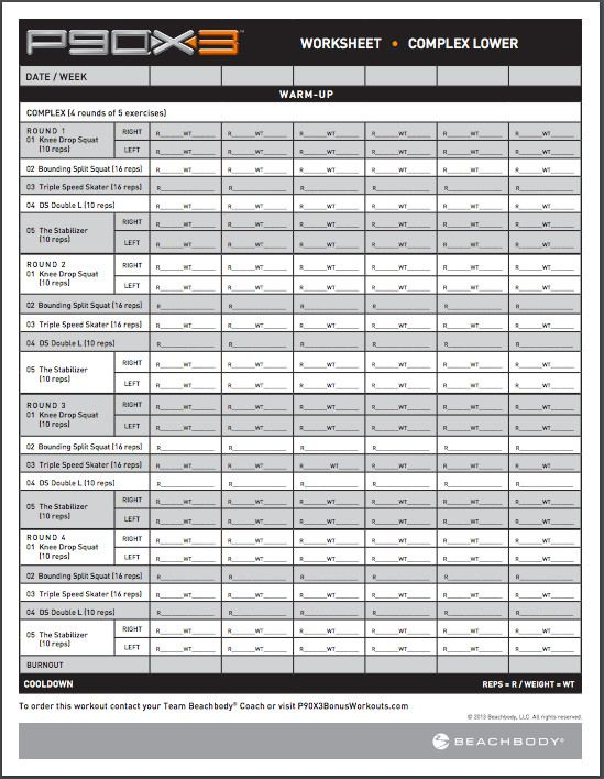 P90X3 Workout Sheets | P90X3 Complex Lower | Free Pdf Download