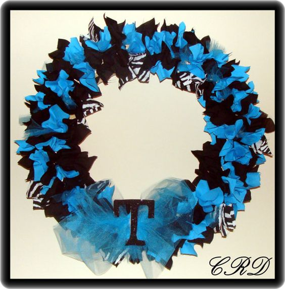 Zebra Turquoise and Black Wreath with Monogram or Number. $35.00, via Etsy.