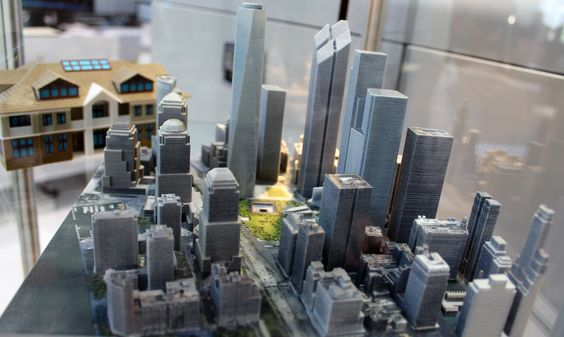 3D printed model of New York financial district, printed with 3D Systems ProJet 3500 HDMax