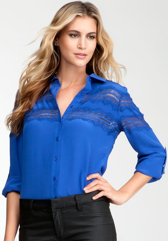 Bebe Lace Inset Silk Button Up Blouse - Surf The Web - S