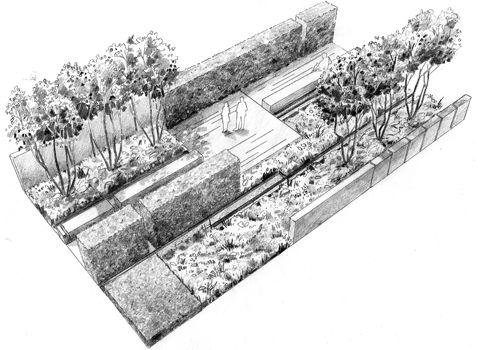 perspective landscape garden design drawing illustration by max goodchild philip nixon design