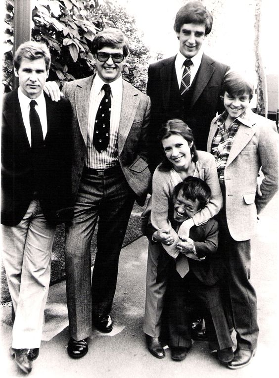 Harrison Ford, David Prowse, Carrie Fisher, Peter Mayhew, Mark Hamill and Kenny Baker: