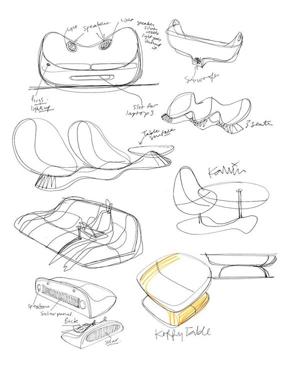 Various sketches for Natuzzi over the years - 2008 by Karim Rashid