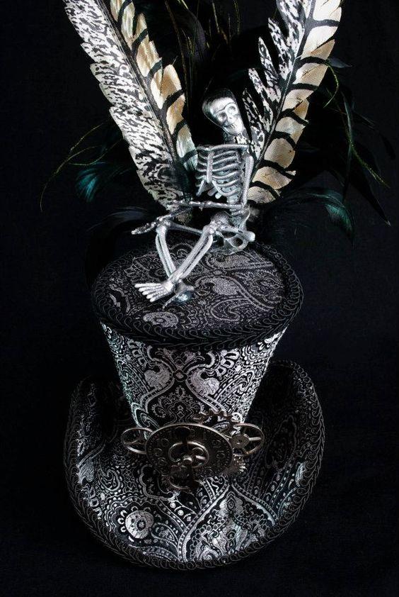 Silver Brocade Steampunk Mini Top Hat w/ Skeleton