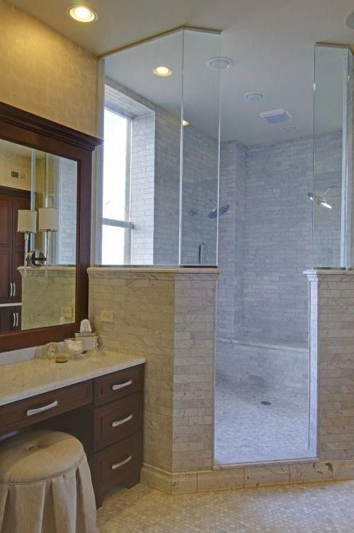 Large Corner Shower With An Exterior Wall Window Want Doors To