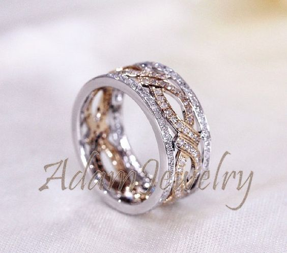 Unique Two Tone Full Eternity Diamonds Ring Solid by AdamJewelry