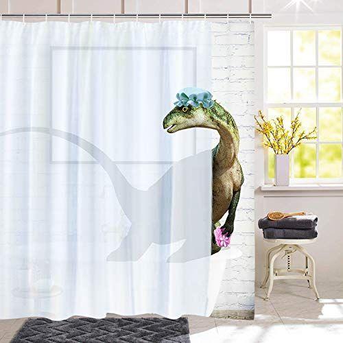 Bleum Cade Funny Bathing Dinosaur Shower Curtain Shower Curtain