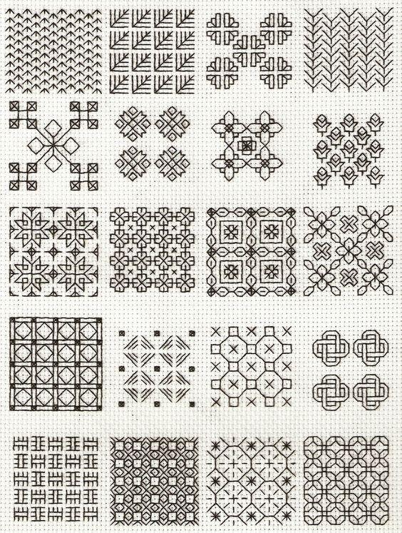 blackwork fill-in patterns from Lesley Wilkins Beginners Guide to Blackwork