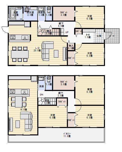 玄関と浴室を共有する二世帯住宅の間取り 二世帯住宅間取り 二世帯