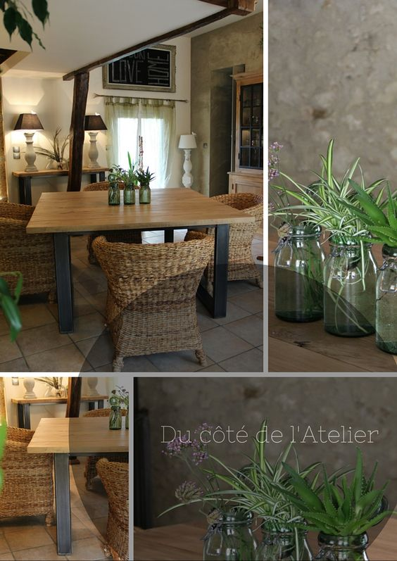 table de salle manger carr sur mesure en bois et m tal id al pour d co campagne chic. Black Bedroom Furniture Sets. Home Design Ideas
