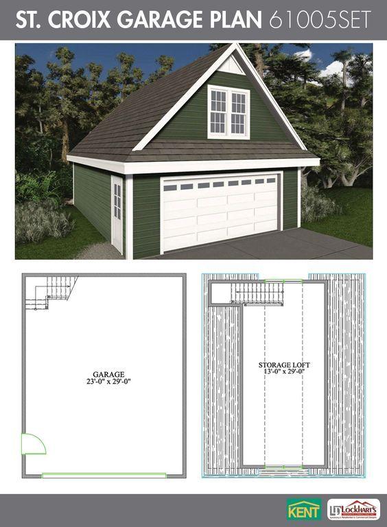 St Croix Garage Plan 24 X 30 2 Car Garage 551 Sq Ft Bonus Room 61005set Kent Building Supplies Ga Garage Plans With Loft Garage Plan Building A Shed