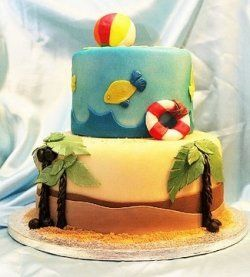 two tier fondant beach cake