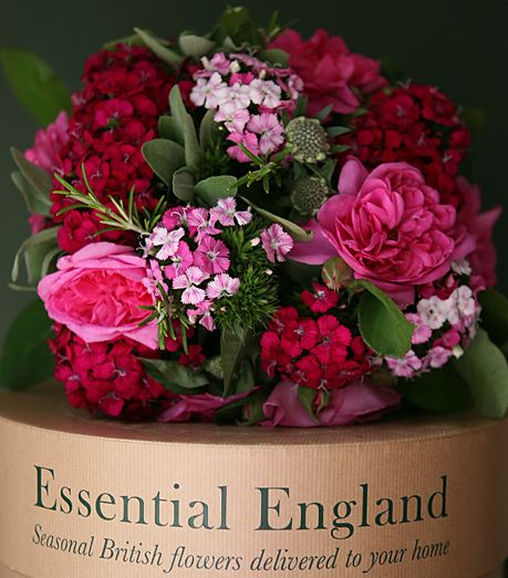 ENGLISH ROSE AND SWEET WILLIAM BOUQUET    Our signature flower box filled with the finest English Roses, blousy Sweet Williams, and fragrant herbs is simply stunning and makes the most wonderful present.