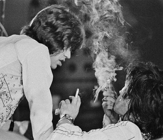 Mick Jagger and Keith Richards having a break