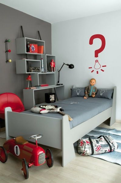 Color inspiration gray red pinterest rode for Boys bedroom ideas red