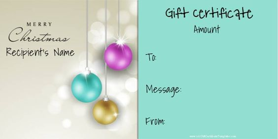 Free printable Christmas gift certificate template Can be - christmas gift certificate template