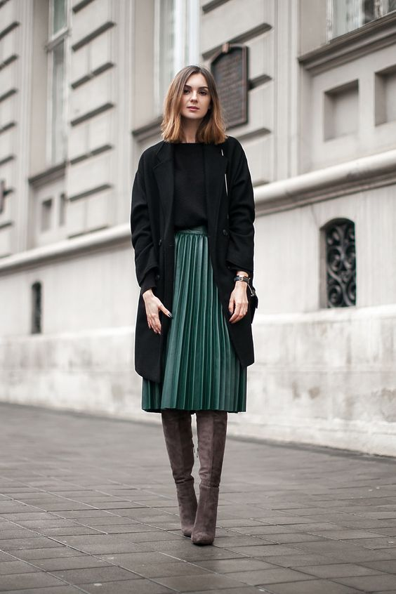 Long cardi, pleated emerald midi, tall grey boots