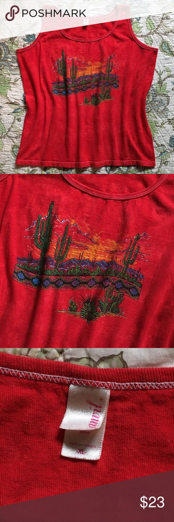 "Vintage 90s oversized graphic muscle tank Vintage 90s oversized graphic muscle tank. Bright red muscle tank that has a cactus landscape graphic design on the front. Measurements are taken laying flat: armpit to armpit: 23"" length: 25"" Vintage Tops Muscle Tees"
