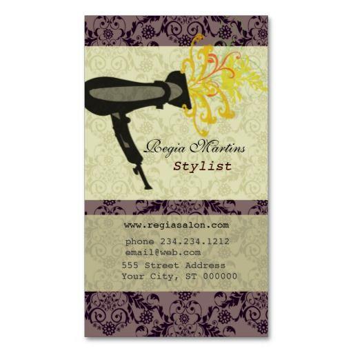 Salon Spa Hair Stylist Damask Hairdryer Business Card Template