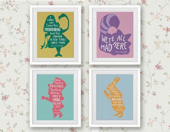 Set of 4 Quotes, Alice in Wonderland Cross Stitch Pattern Cute Modern Decor Set Red Violet Green Yellow Gold Pink Kit PDF Instant Download by StitchLine on Etsy https://www.etsy.com/listing/248108355/set-of-4-quotes-alice-in-wonderland