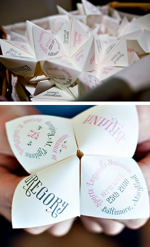 cootie catchers #wedding http://www.thetoymaker.com/Toypages/16Cootiecatcher/16COOTIECATCHER.html