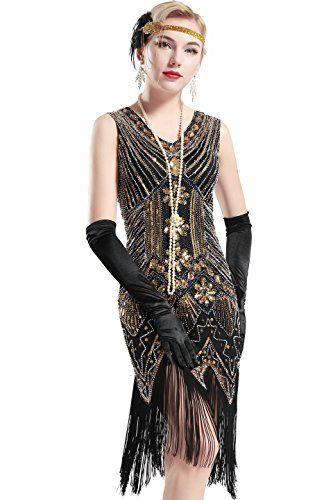 Beste BABEYOND Women's Flapper Dresses 1920s V Neck Beaded Frin UH-54