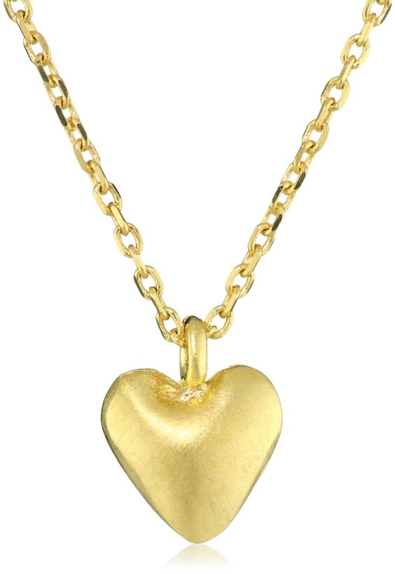 """Satya Jewelry """"Classics"""" Heart Puff Pendant Necklace, 18"""". Items that are handmade may vary in size, shape and color. This simple heart pendant is just bursting at the seams with love. With each beat of your own heart, be reminded of the power of sharing love with all beings. Made in United States."""