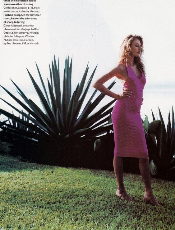 UK Vogue March 1995 The Name of the Rose Ph: Robert Erdmann Model: Bridget Hall wearing Rifat Ozbek dress Fashion Editor: Tiina Laakkonen Hair: Ray Allington Makeup: Diane Kendal