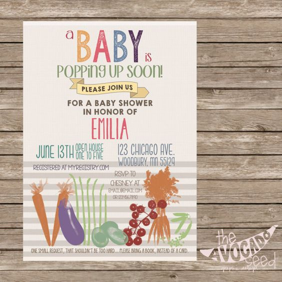 A Baby is Popping Up Soon - Vegetable Baby Shower Invitation - DIY Printing or Professional Prints