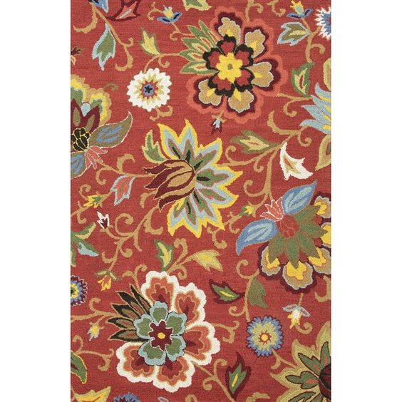 Hand Tufted Floral Pattern Red/ Blue Wool Area Rug (5' x 8')