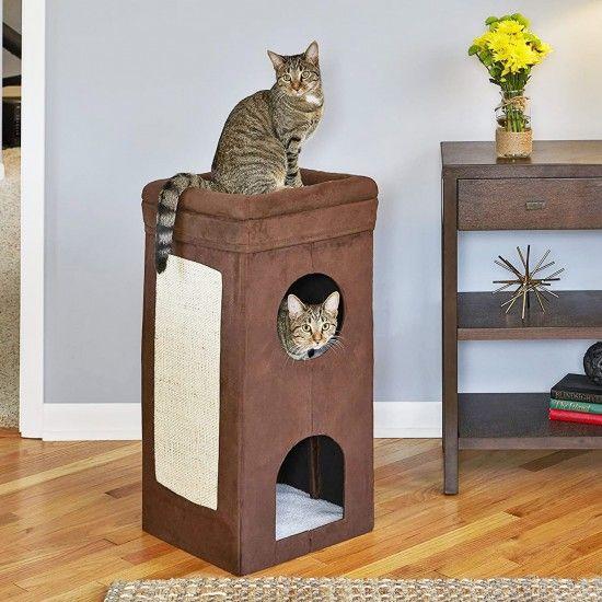2 Story Cat Hideaway With Sisal Scratching Pad Cat Condo Cat Cube Cat Tree Condo
