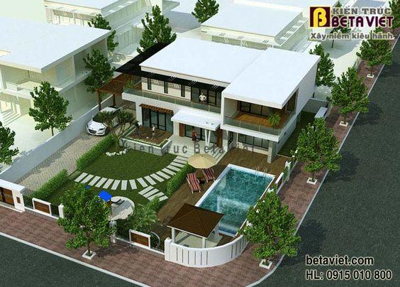 Thiết kế mẫu nhà biệt thự đẹp 2 tầng